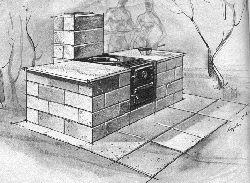 BBQ Brick Pit, Cinder Block Fire Place