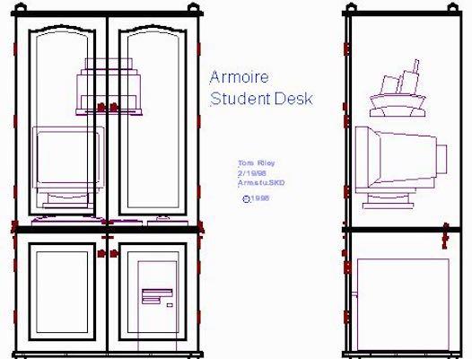 Build a Computer Armoire Desk using free plans.