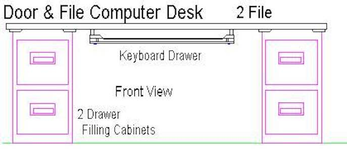 Build a Computer Desk - Door and File using free plans.