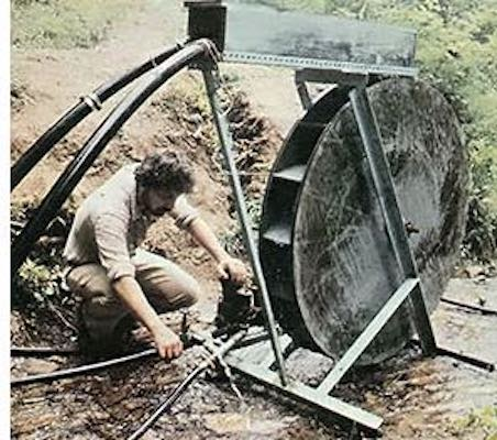 Free plans to build a Home Sized Waterwheel.