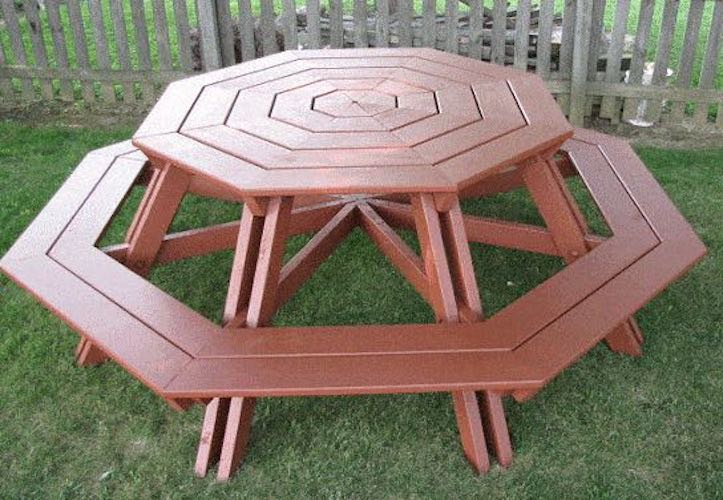 Build an Octagonal Picnic Table using free plans.