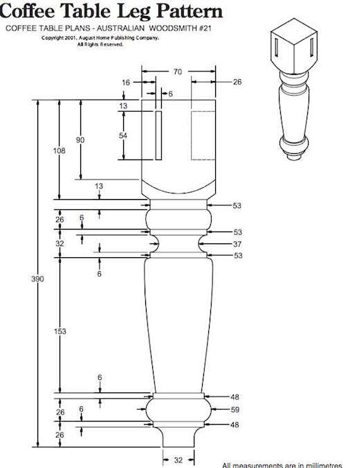Free Coffee Table Leg Pattern for the lathe.