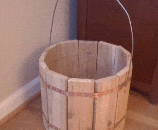 Build a Decorative Wooden Bucket using free plans.