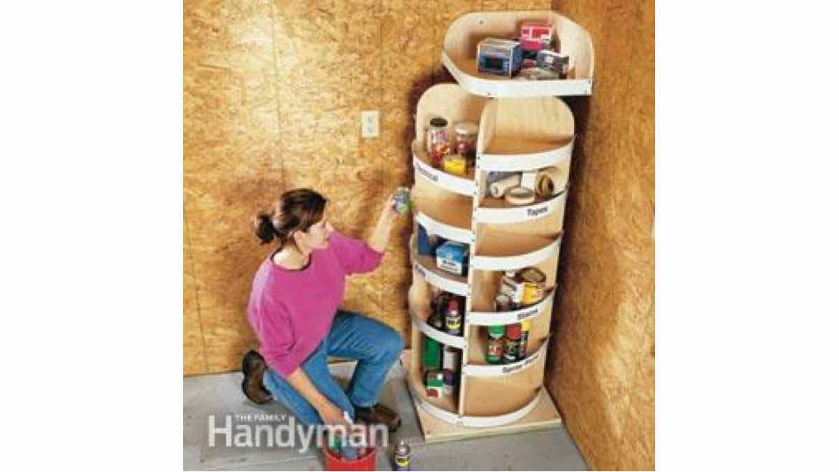 rotating shelves,revolving shelfs,spinning,garage storage solutions,workshop,DIY instructions,do it yourself,free woodworking plans,woodworkers projects,plans for how to build,DIY tools,diy networks
