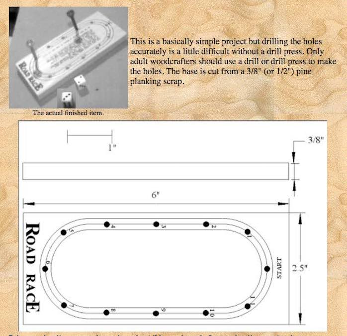 Free plans to build a Peg Road Race Game.