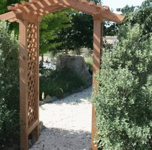 Free plans to build an Arbor with Pitched Roof.