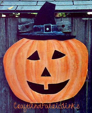 Wood Painted Halloween Pumpkin