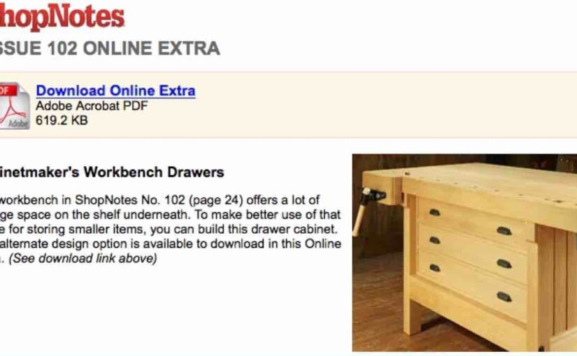 Cabinetmakers Workbench Drawers