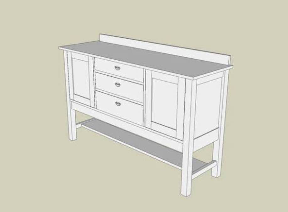 Free plans to build a Mission Sideboard.