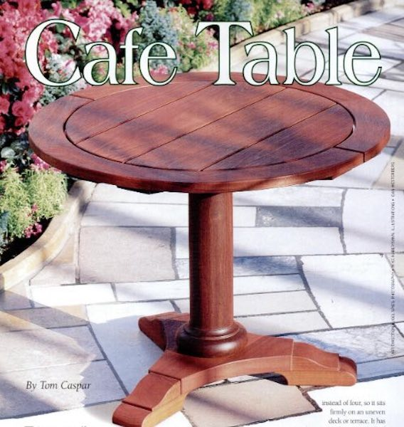 Free plans to build an Outdoor Cafe Table.