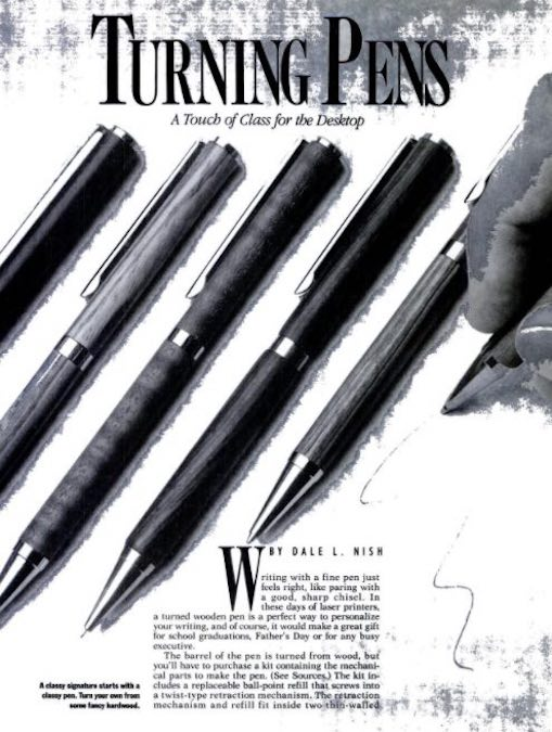 Free plans for Turning Pens.