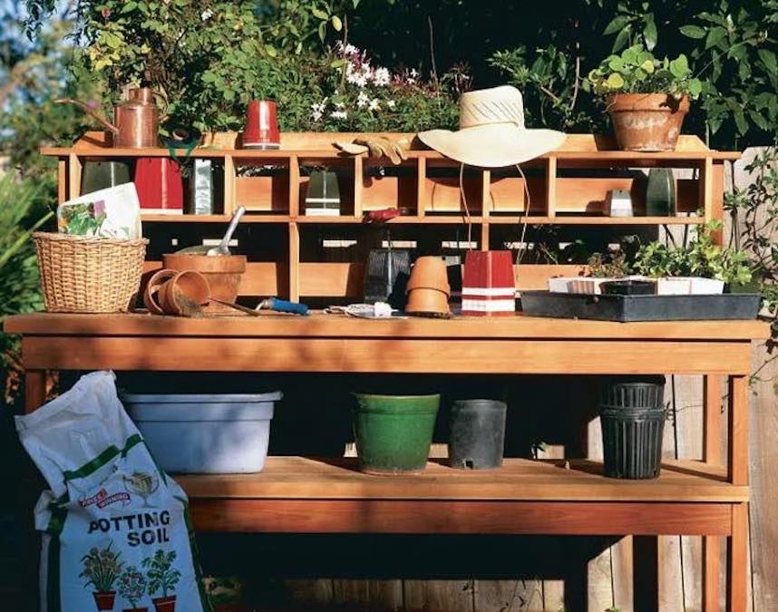 Build a Potting Bench for the Gardener using free plans.