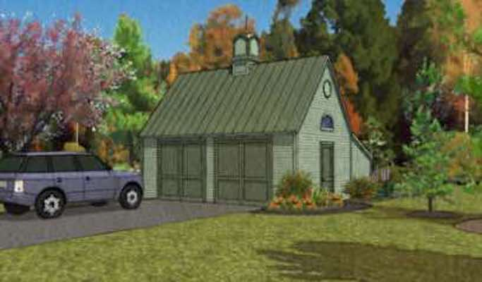 Free plans to build the Pole Frame Two-Car Garage with Storage Loft 22×24 ft.