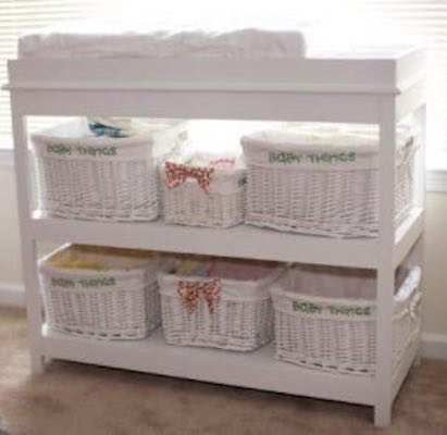 Build a Changing Table With Open Shelves.