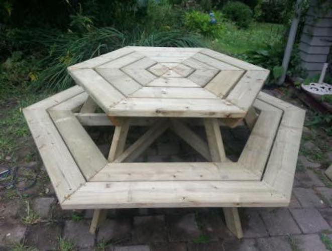 Free plans to build a Hexagon Shaped Picnic Table.