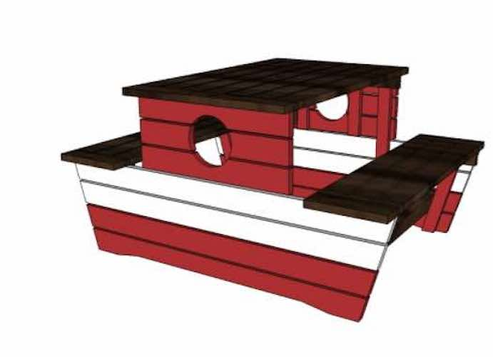 Free plans to build a Pirate Picnic Table.