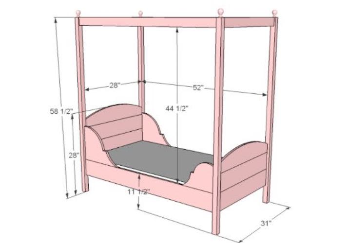 Build a Toddlers Bed with Canopy using free plans.