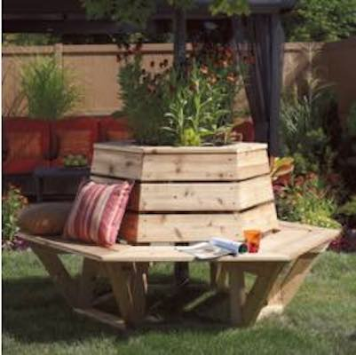 Free plans to build a backyard Tree Bench.