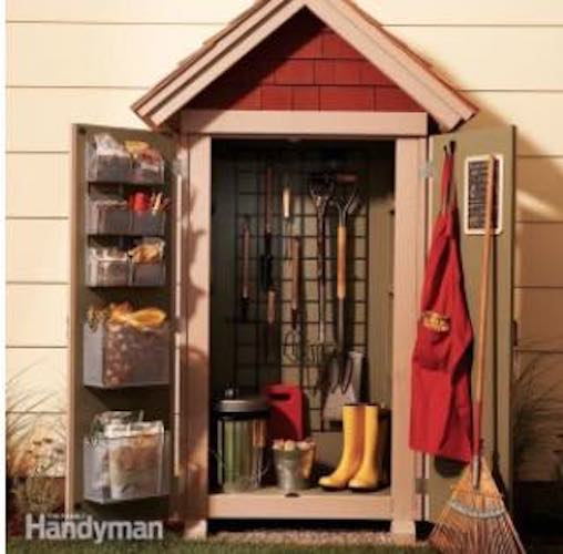 Build a Garden Closet Shed with free plans.