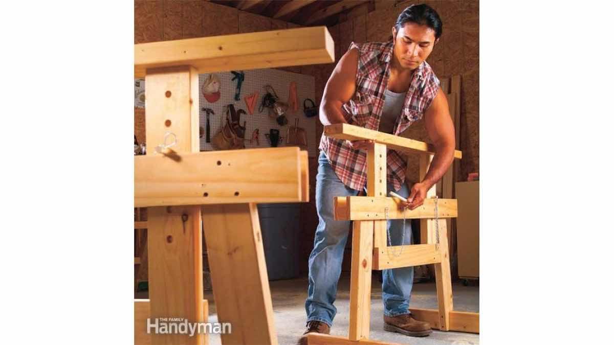 Adjustable Sawhorse Free Handyman Workshop Plans