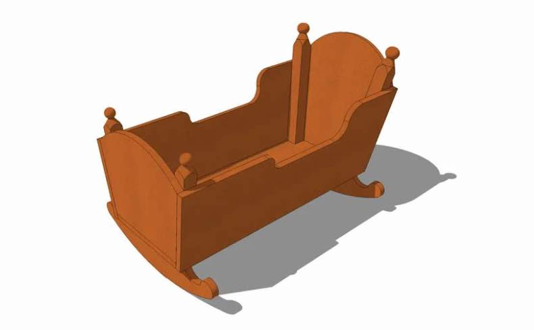 Free plans to build a Colonial Cradle.