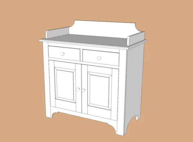 Build a Dry Sink Cabinet using free plans.