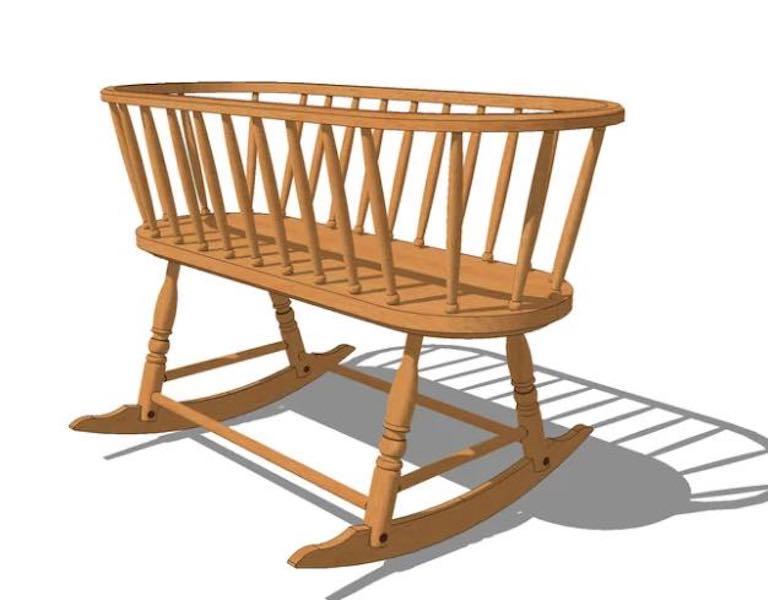 Free plans to build a Windsor Rocking Cradle.