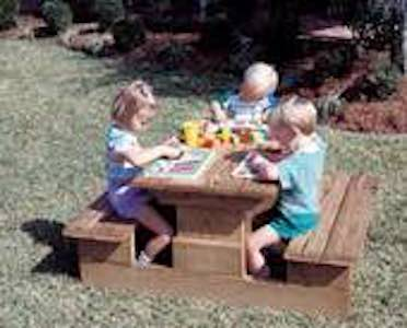 Free plans to build a Kiddy Picnic Table PDF.