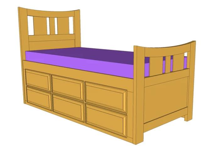 Learn to build your own Captains Bed Twin.