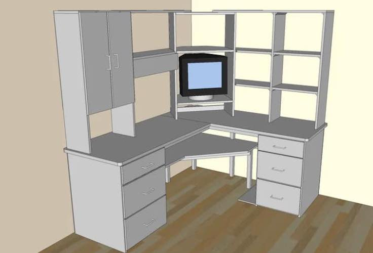 Build a Corner Desk With Upper Storage using free plans.