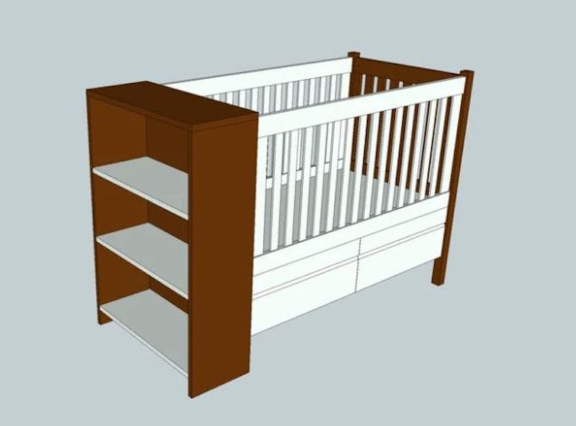 Build a Crib With Shelves using free plans.
