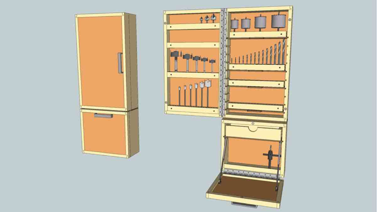 Drill Press Accessories Cabinet SketchUp drawing