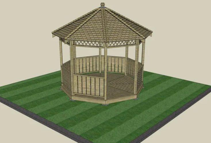 Build a Timber Gazebo using free plans.