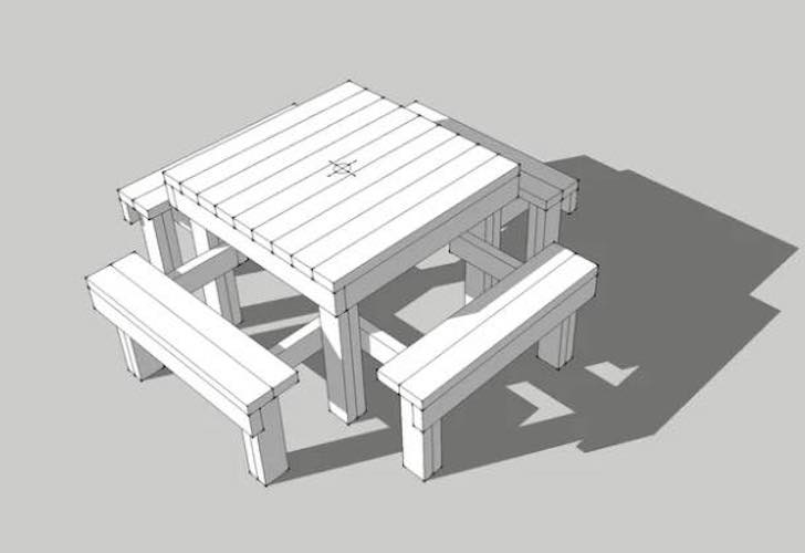 Free plans to build a Kids Picnic Table.