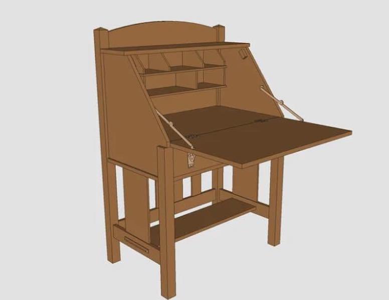 Build a Slant Front Mission Desk using free plans.