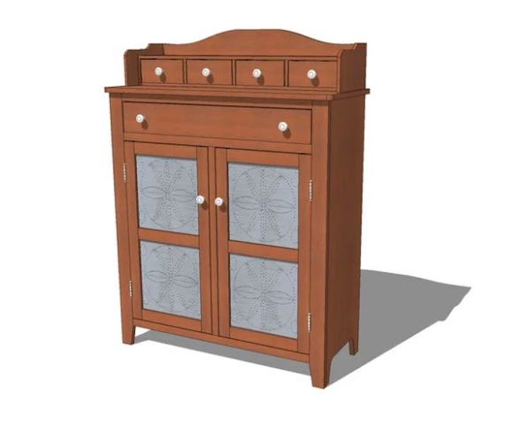 Free plans to build a Creekside Pie Safe SketchUp.