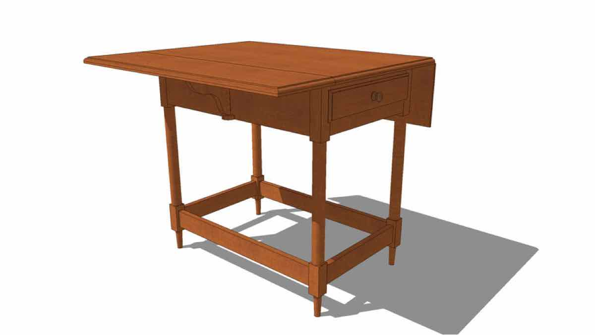 tables,sketchup,Google 3D,drop leaf,wooden,shaker,3-D warehouse,furniture,drawings,free woodworking plans,projects,do it yourself,woodworkers