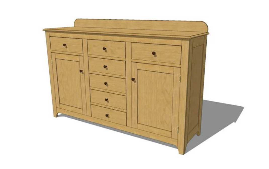 Free plans to build a Shaker Style Sideboard.