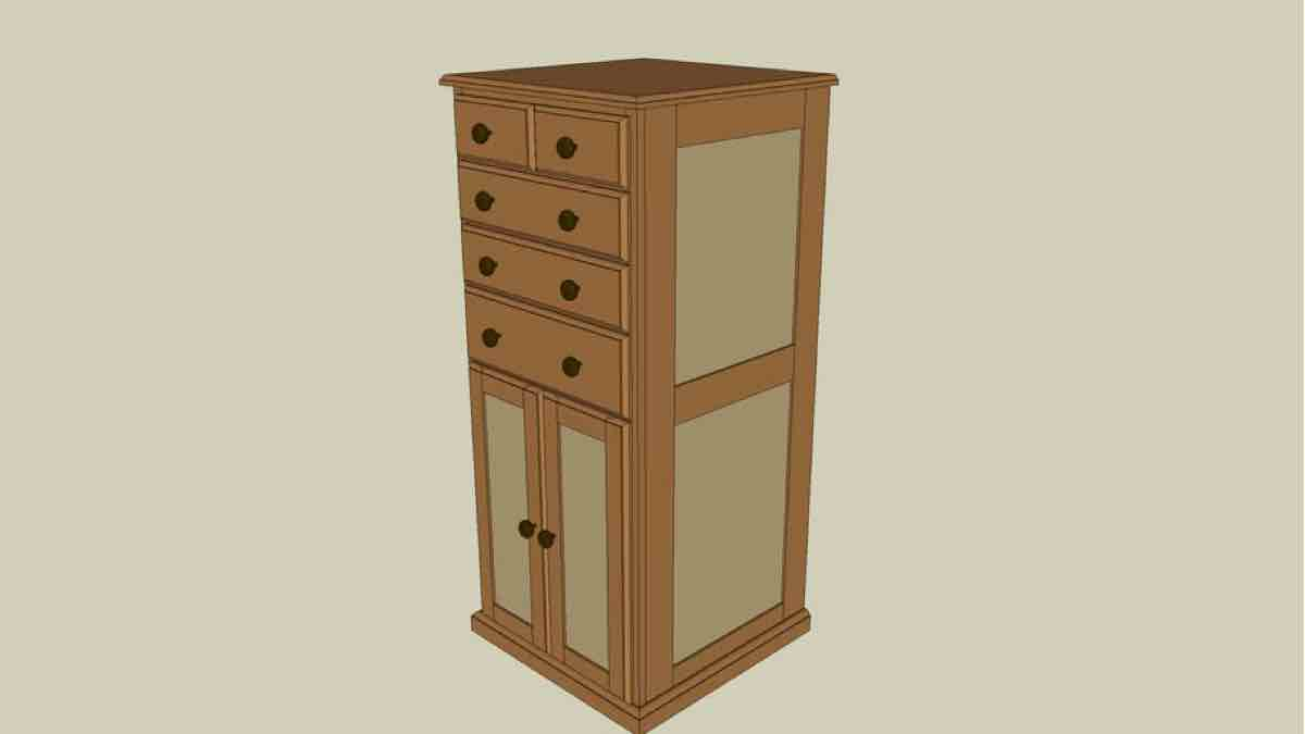 Workshop Tool Cabinet Woodworking Drawing