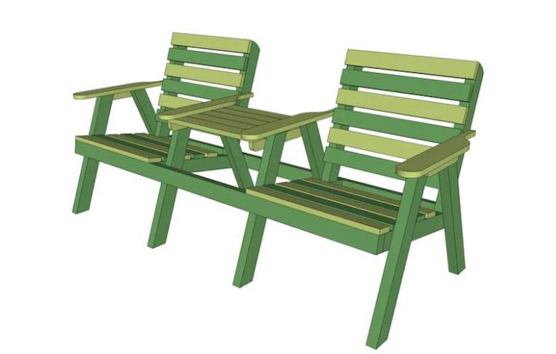 Free plans to build a Two Seat Garden Bench.