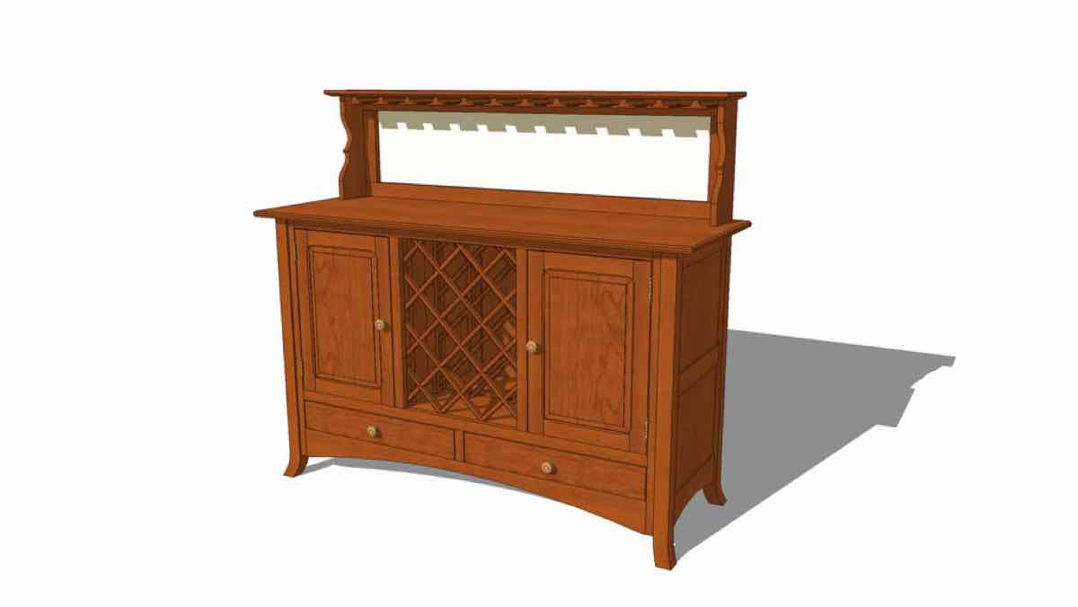 wine,racks,buffets,sketchup,Google 3D,3-D warehouse,furniture,drawings,free woodworking plans,projects,do it yourself,woodworkers