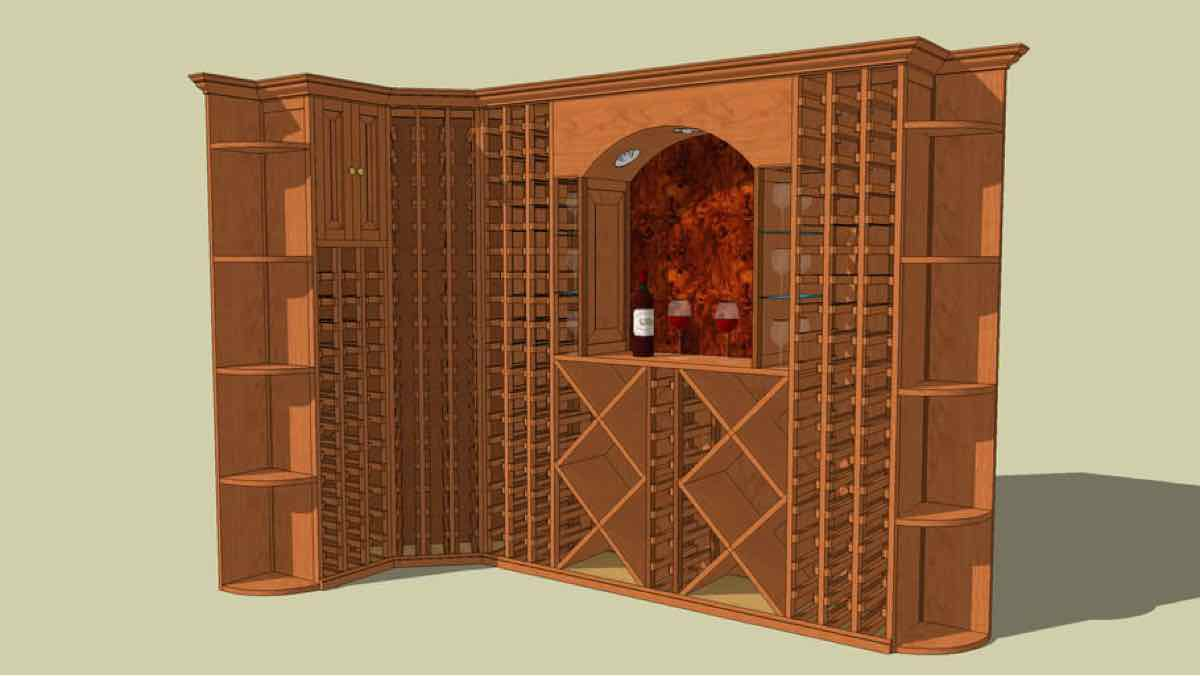 wine racks,sketchup,Google 3D,3-D warehouse,wine bottle storage,wooden,drawings,free woodworking plans,projects,do it yourself,woodworkers