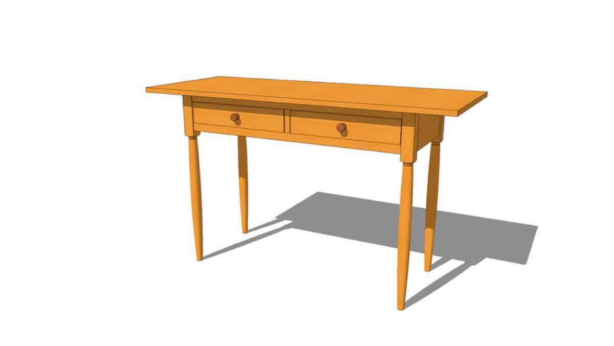 tables,sketchup,Google 3D,console,sofa table,desk,3-D warehouse,furniture,drawings,free woodworking plans,projects,do it yourself,woodworkers