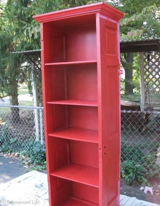 Learn how to build Bookshelves from an Old Door with free plans.