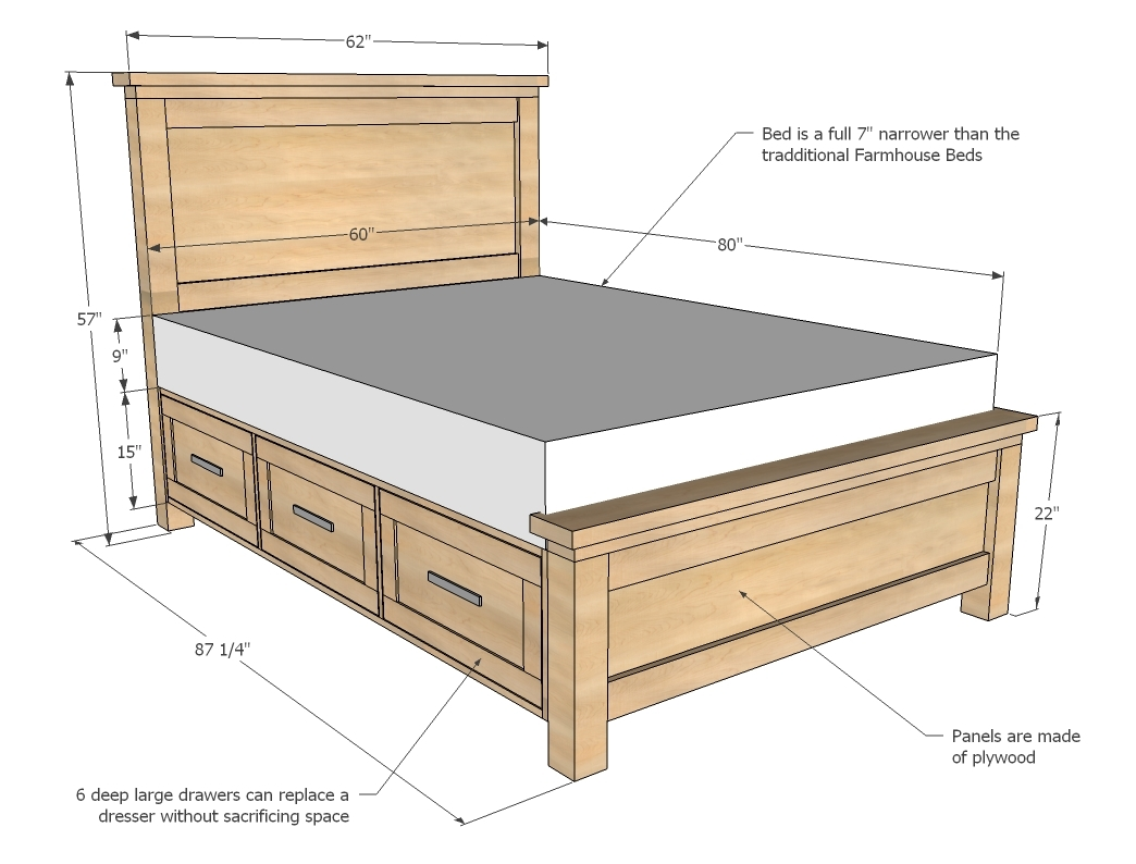 Free plans for a Farmhouse Storage Bed Queen.