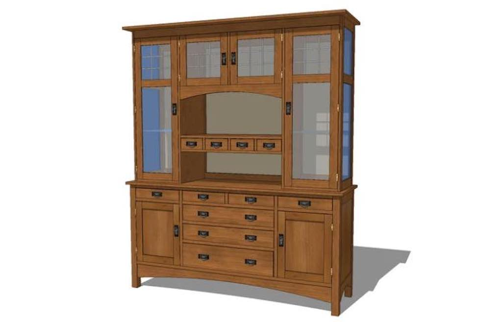 Free plans to build an Arts and Crafts China Cabinet.