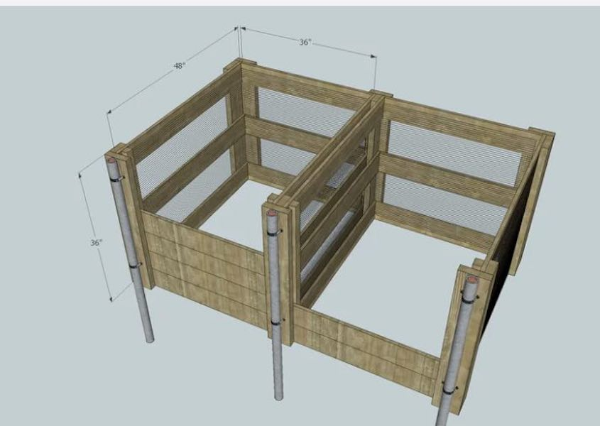 Free plans to build a 2 Compartment Compost Bin.