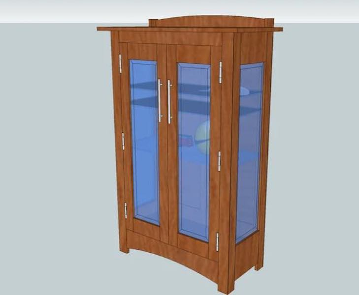 Free plans to build a Craftsman Curio Cabinet.