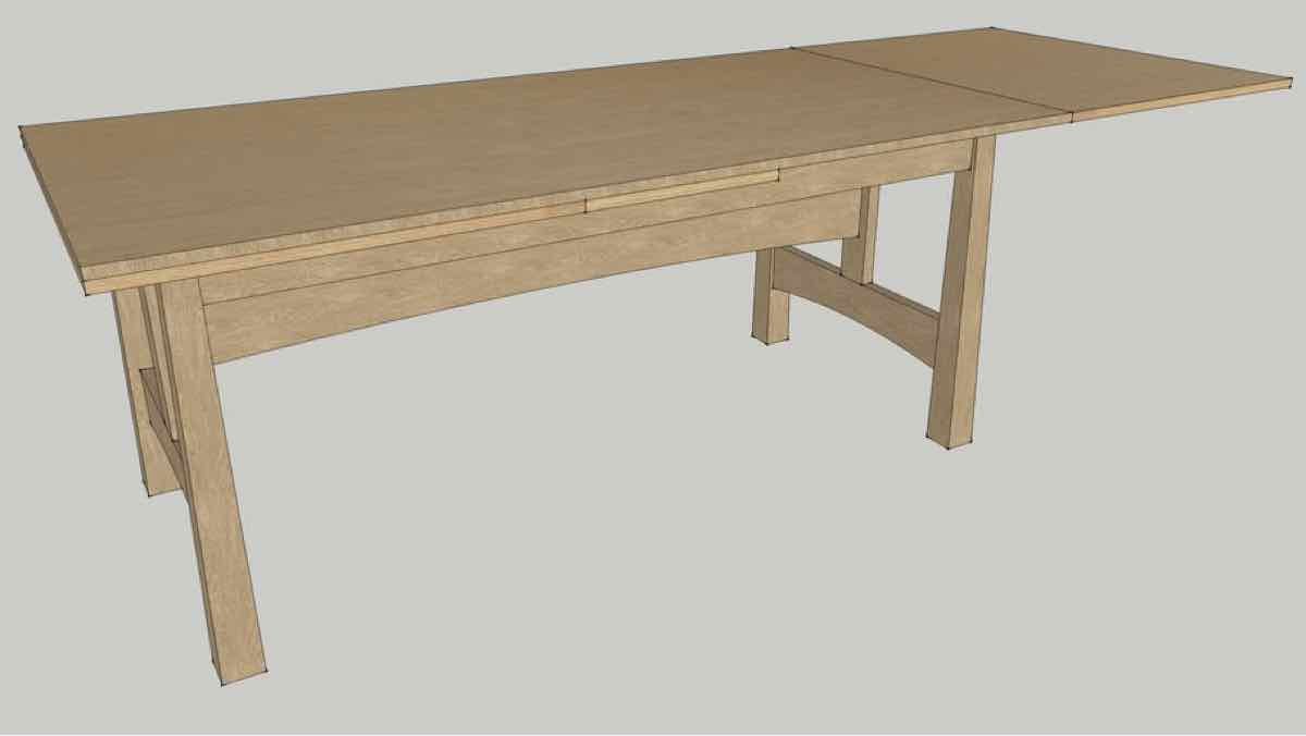 tables,dining,sketchup,Google 3D,3-D warehouse,furniture,draw leaf,drop leaf,pull out,drawings,free woodworking plans,projects,do it yourself,woodworkers