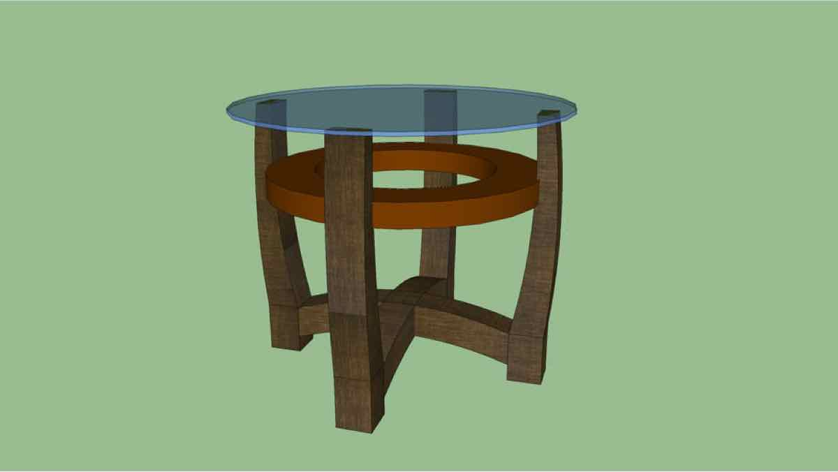 tables,end tables,sketchup,Google 3D,3-D warehouse,side tables,glass top,round,drawings,free woodworking plans,projects,do it yourself,woodworkers